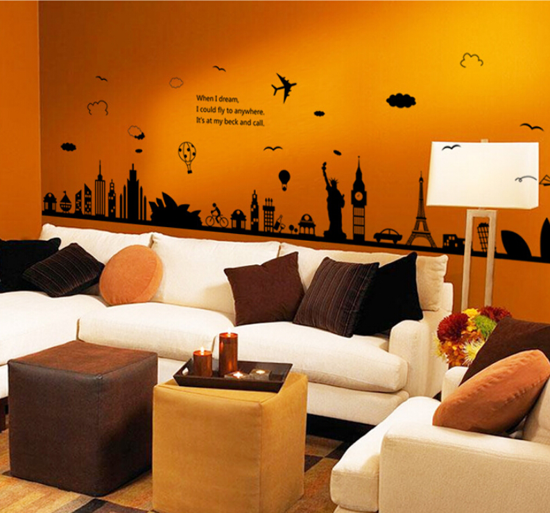 Fashion Eiffel Tower Sydney Greek city Building set DIY Wall Stickers Living Room Background Decor Mural Decal Wallpaper AY9214
