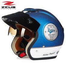 Casco de moto ZEUS 381c Retro de media cara, casco de moto capacete open vintage face 3/4, casco de moto eléctrica locomotora