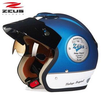 ZEUS 381c Retro half face motorcycle helmet scooter capacete open vintage face 3/4 helmet  Electric locomotive motorbike helmet
