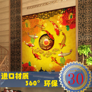 Chinese custom 3D retro personality large mural study Nine fish Figure bedroom living room TV background wallpaper wall paper large bedroom study mural 3d wallpaper european retro world map backdrop living room tv sofa office