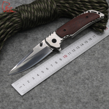 Dcbear Tactical Folding Blade Knife 3CR13 Steel Blade Survival Knives Wood and Steel Handle Camping Pocket Knife Tools