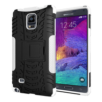 Lux 2 In 1 Heavy Duty Strong Rugged Armor Tire Style Hybrid TPU PC Hard Stand Bracket Case For Samsung Note 4