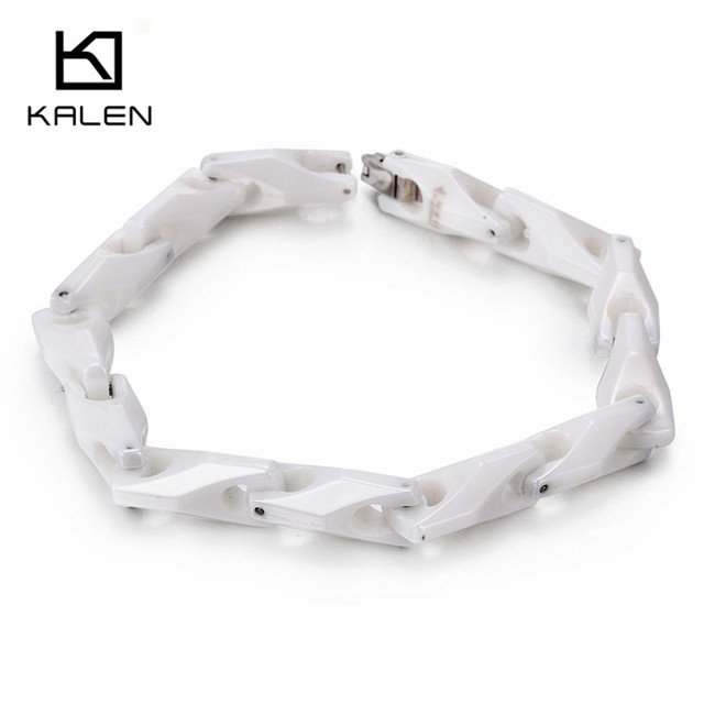 Kalen Men's Personalised White Tungsten Steel Bracelet Health Care Hologram Energy Bracelet Fashion Link Chain Bangles Gift 2017