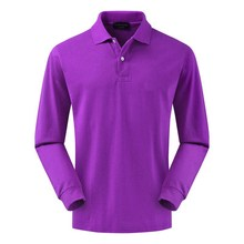 TOP quality Long Sleeve Mens T-shirt Casual Solid purple Cotton Tee shirts Businessmen Turn-down Collar Tops for Men