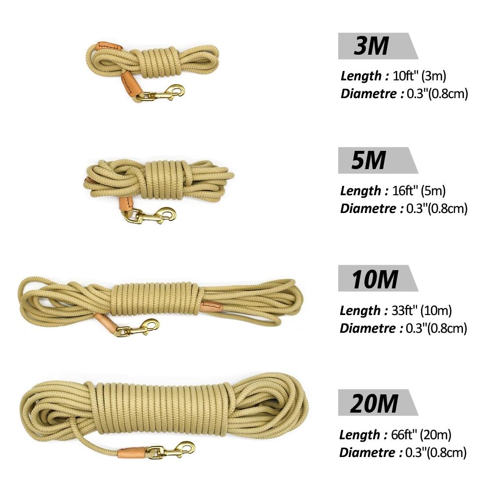Durable Dog Tracking Leash Nylon Long Leads Rope Pet Training Walking Leashes 3m 5m 10m 20m For Medium Large Dogs Non-slip 7