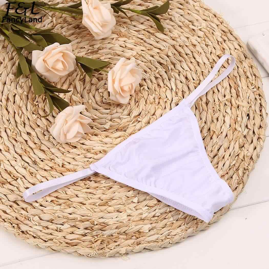 bd5e956cc044 Sexy Lingerie Women Brief String Solid Tiny Sides G-String Underwear  Sleepwear Panties Plus Size