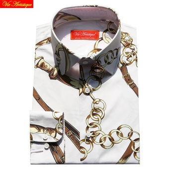 custom tailor made Men's bespoke shirts business formal wedding ware bespoke blouse cotton floral white printed golden chain
