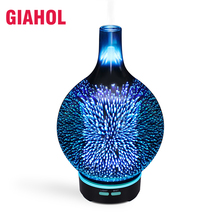 Air Humidifier 100ml 3D LED Lights Ultrasonic Aromatherapy Glass Essential For Home Oil Diffuser Changing Mist