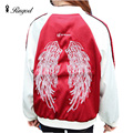Autumn Bomber Jacket Angel Wings Embroidery Women Basic Coats 2017 Fashion Clothes Outerwear Baseball Jackets Chaquetas Mujer