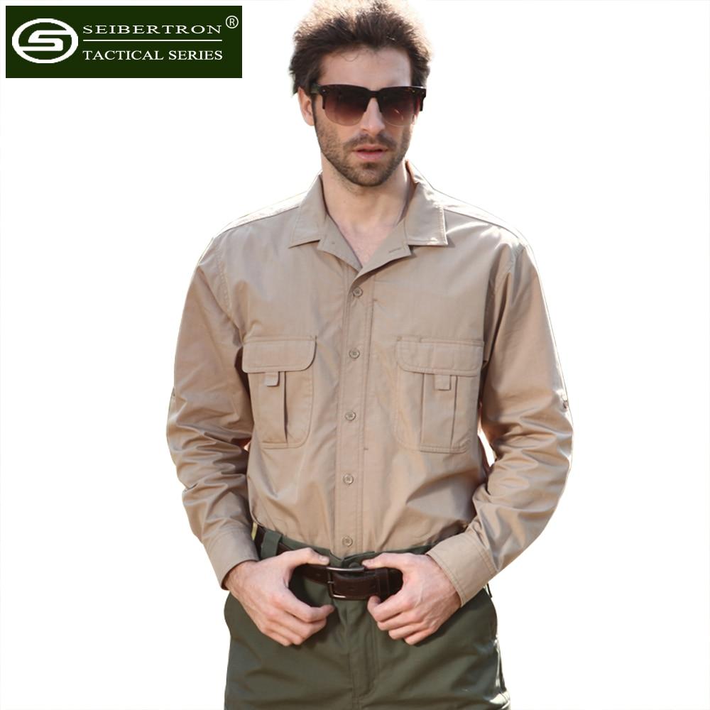 ФОТО Seibertron Long Sleeve Lightweight Tactical Men Shirt Outdoor Sport Cotton Hiking Shirt Full Man Quick Dry Clothing