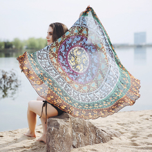 150cm*150cm New Chiffon Beach Cover Up Vintage Printed Bikini Women Swimsuit bathing suit Cover Up Tunics For Beach Summer 30