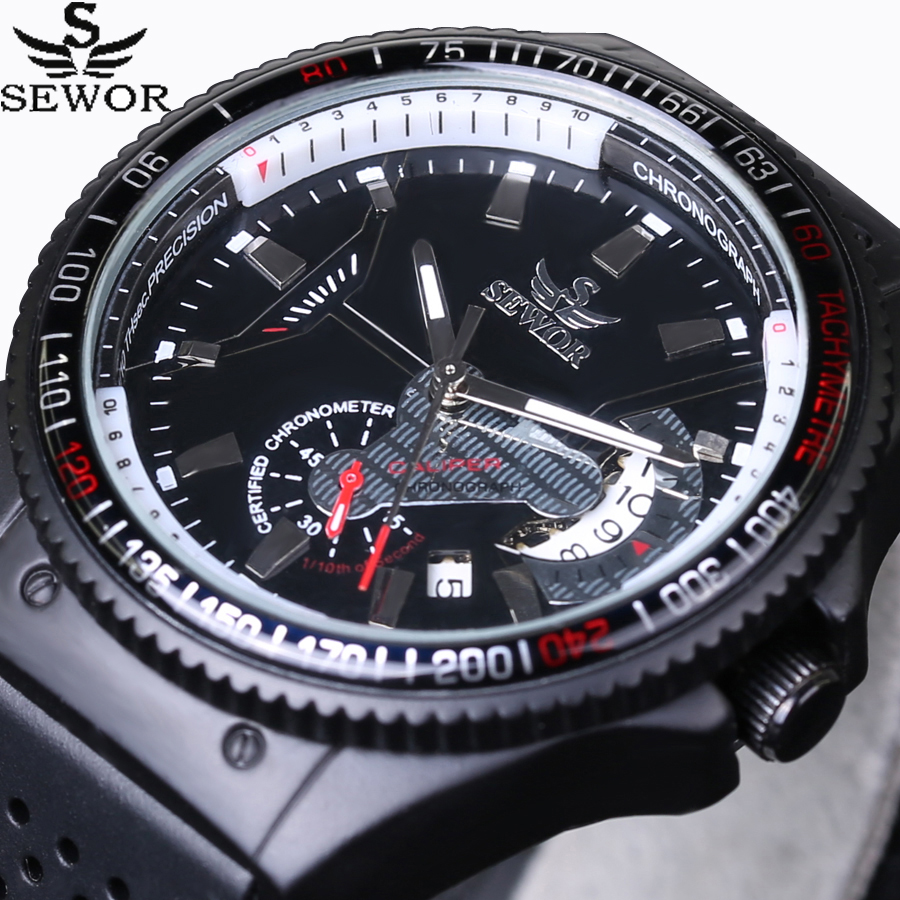 2016 New SEWOR Luxury Brand Rattrapante Men Watches Automatic Mechanical watch Sports Male Rubber Strap Aviator Pilot Wristwatch sewor new arrival luxury brand men watches men s casual automatic mechanical watches diamonds hour stainless steel sports watch