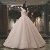 Vestido De Noiva 2018 Spring New Sleeveless Ball Gown Wedding Dress Inspired Double V Neck Lace