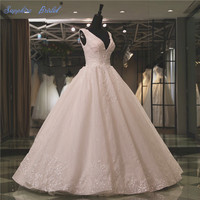 Vestido De Noiva 2018 Spring New Sleeveless Ball Gown Wedding Dress Inspired Double V Neck Lace