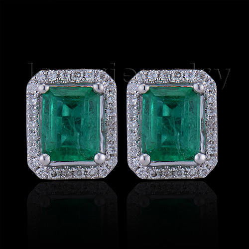 Women New Fashion Jewelry Emerald Cut 5x7mm 14kt White Gold Diamond Emerald Earrings E53 caimao exquisite jewelry natural cabochon cut emerald baguette cut diamond 14kt white gold drop earrings