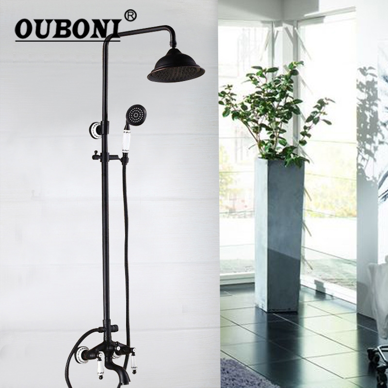 OUBONI Black 8 Inch Shower Sets Wall Mounted Bathroom 3 functions Mixer Valve Dual Handles head Rainfall Shower Mixer Tap Faucet ouboni modern rainfall