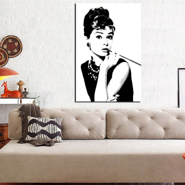 Online Shop HD Print Black with White Audrey Hepburn Portrait on ...