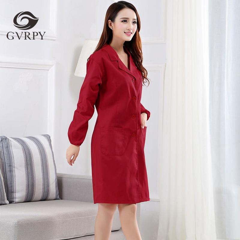 Red Lab Coat Long Sleeve Unisex Doctor Medical Uniforms Hospital Beauty Salon Dental Clinic Pharmacy Nurse Work Clothing