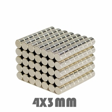 50/100/200pcs 4x3mm Powerful Super Strong Permanent Fridge Magnet 4 x 3 mm N35 Small Round Rare Earth Neo Neodymium Magnet 100 50 20 super block hole magnet 100 x 50 20 mm powerful craft neodymium rare earth permanent strong n35 n35