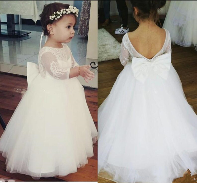 Beautiful Lace Tulle Ball Gowns For 2-14 Years Princess Vestidos De Premia Communion   Flower     Girl     Dress   With Bow Open Back Longo