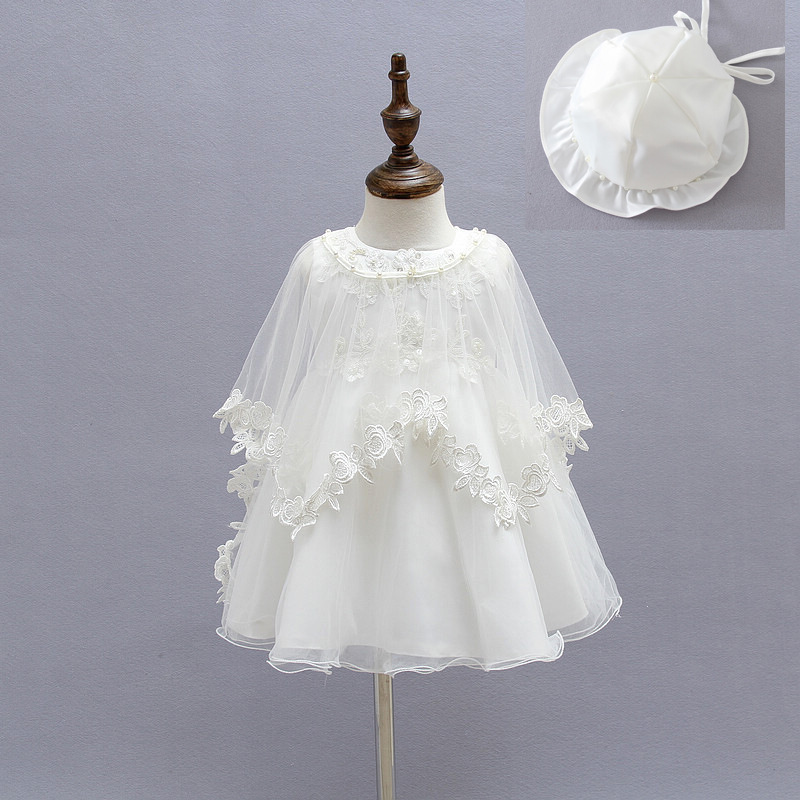 2015 Newborn Baby Christening Gown Infant Girl's White Princess Lace Baptism Dress Toddler Baby Girl Chiffon Dresses 3pcs/set white christening dress baby girl christening gowns vintage long lace gown baby christenin baptism girl princess dresses