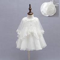 2015 bebé recién nacido traje de bautizo de la muchacha infantil princesa blanca de encaje bautismo dress toddler baby girl vestidos de gasa 3 unids/set