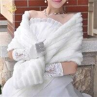 Women Winter Long Bridal Faux Fur Shawl Bridal Wraps Warm Faux Fur Wedding Party Wrap Boleros
