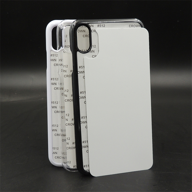 Customerized 2D Sublimation Blank Plastic Case Hard Cover For iPhone X Xs Xs max XR aluminium plate insert Heat Transfer 10pcs