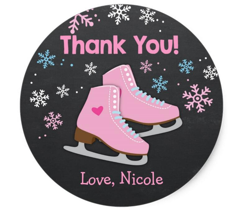 Купить с кэшбэком 1.5inch Ice Skating Stickers  Ice skating favor tags