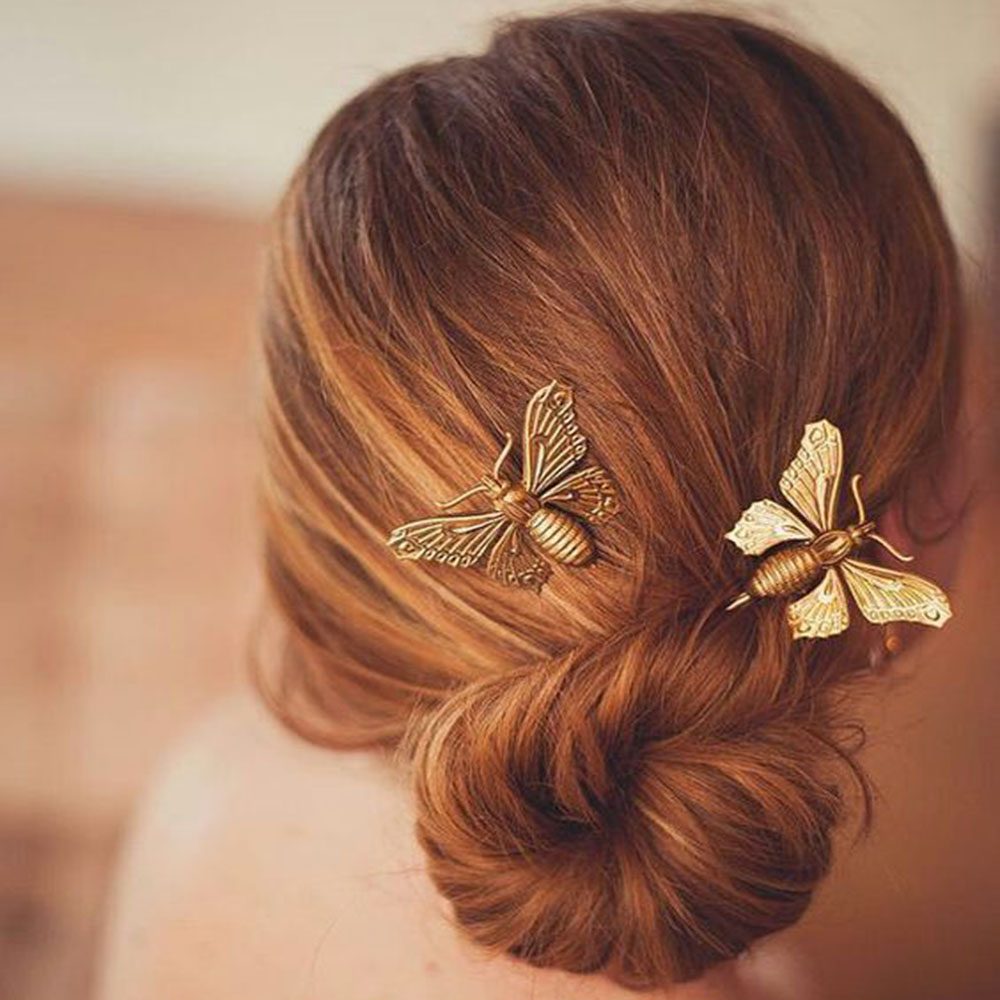 Butterfly hair accessories for weddings uk - 2pcs Lovely Fashion Women Girls Silver Gold Butterfly Leaf Hairpin Golden Party Wedding Uk Clip