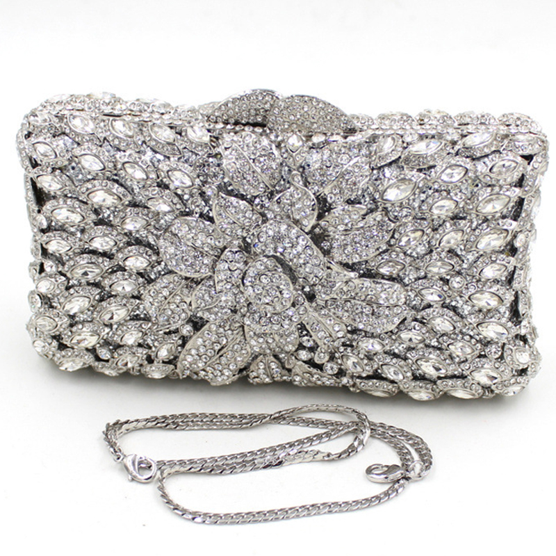 Mini Size Silver Clutch Bag For Women UK Sale White Silver Clutch Purse For Wedding Days Floral ...