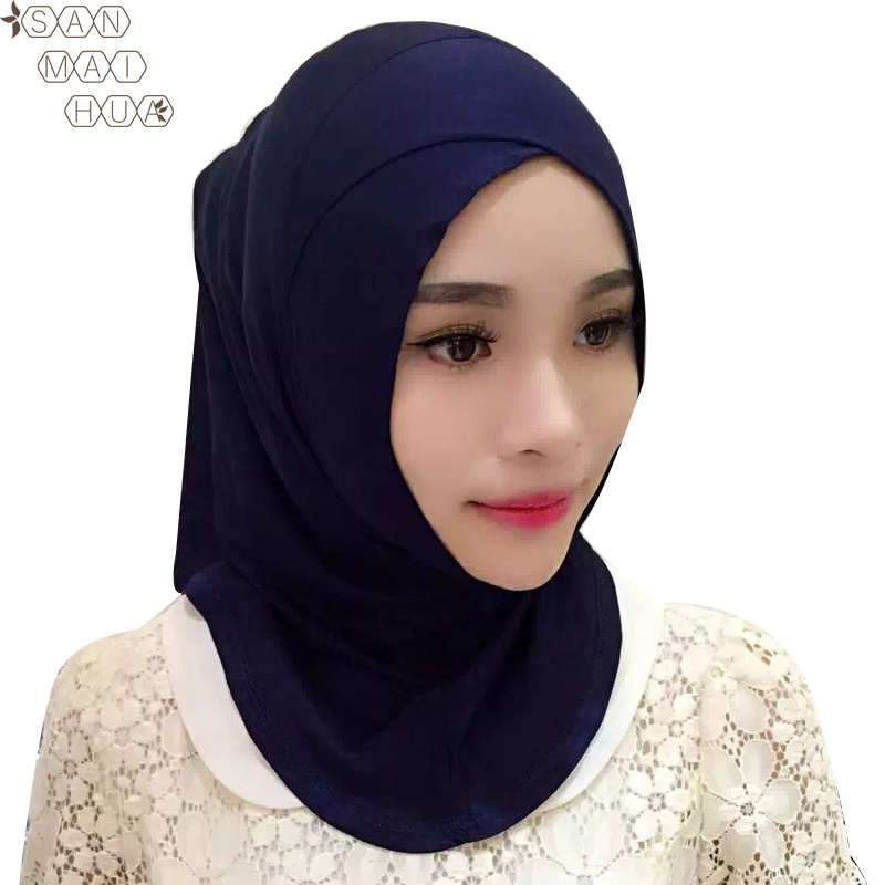 Women Cotton Full Cover Inner Hijab Caps Muslim Turban Islamic Under Scarf Crossover Caps