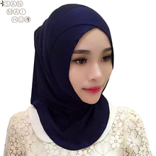 Women Cotton Full Cover Inner Hijab Caps muslim turban islamic under scarf crossover caps