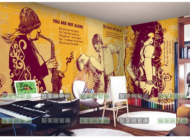 Nostalgic Rock Cafe Restaurant 3D Wallpaper Music Classroom KTV Living Room  Bedroom 3D Wallpaper Murals Part 33