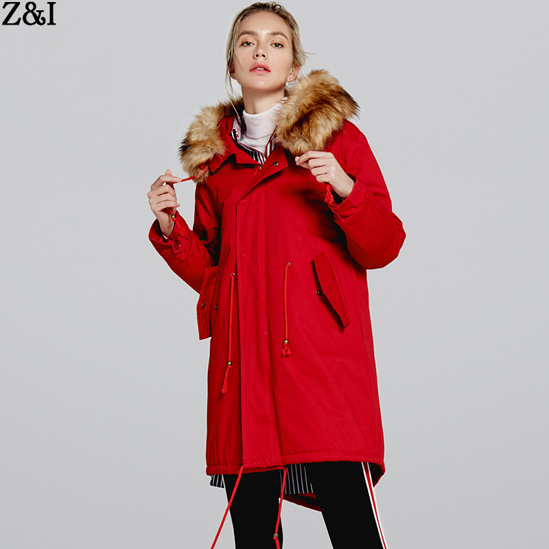 Winter Jacket Women 2018 New Parkas Casual Hooded Fur Coat Thicken Cotton Red Parka Black Military