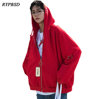 2017 Autumn New Fashion Harajuku Metal Ring Solid Oversized Hoodies Men Hip Hop Casual Male Hooded