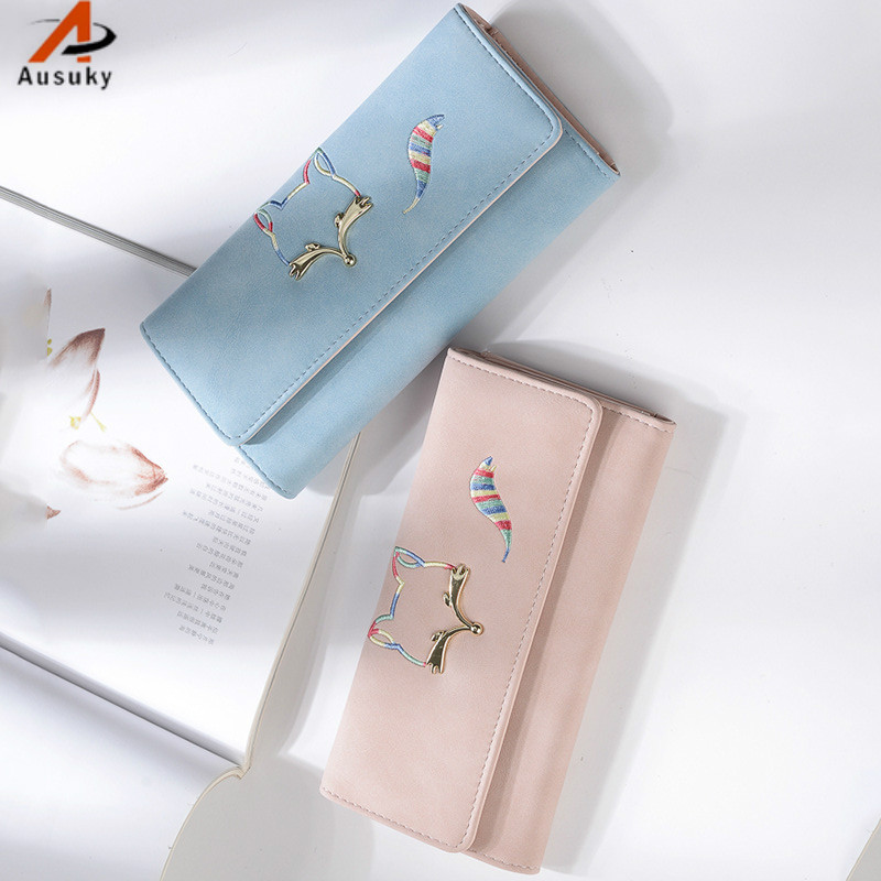 Lovely Fox pattern Women Wallets Long PU Dull Polish Leather Wallet Female Double Zipper Clutch Coin Purse Wristlet 40 2017 hot sale women wallets dull polish wallet double day clutch purse wristlet portefeuille handbags m0027
