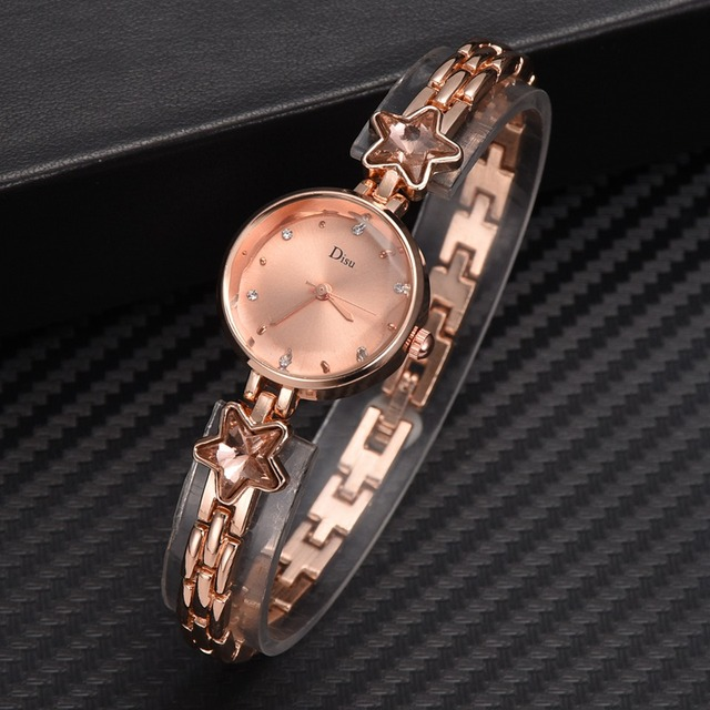 Disu Brand Women Watches Rose Gold Bracelet Watch Ladies Unique Design Round Rhi