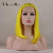 """YXCHERISHAIR 12-16 """"Афроамериканська партія"""" Cosplay Party """"Перуки середньої частини синтетичного прямого жовтого мережива фронтальна паричка для білих жінок"""
