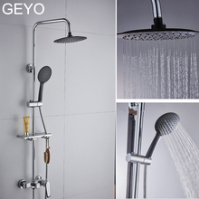 GEYO 3 modes ABS plastic Bathroom Shower Head Big panel Round Chrome Rain Water Saver Classic Design G1/2