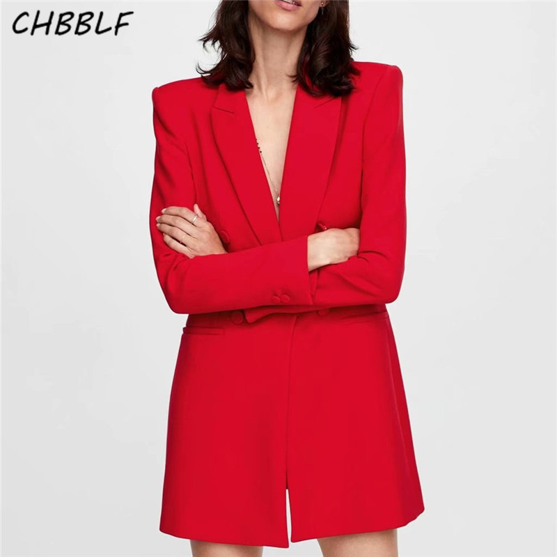 CHBBLF Women Shrug Blazers Long Sleeve Notched Collar Solid Red Black Outerwear Office Lady Work Wear Basic Chic Coat WEW5153
