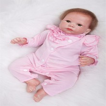 19 inch 49 cm Silicone baby reborn dolls, lifelike doll reborn Beautiful pink dress doll Festival gift
