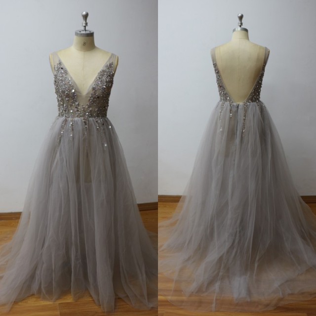 Robe cocktail grise argent