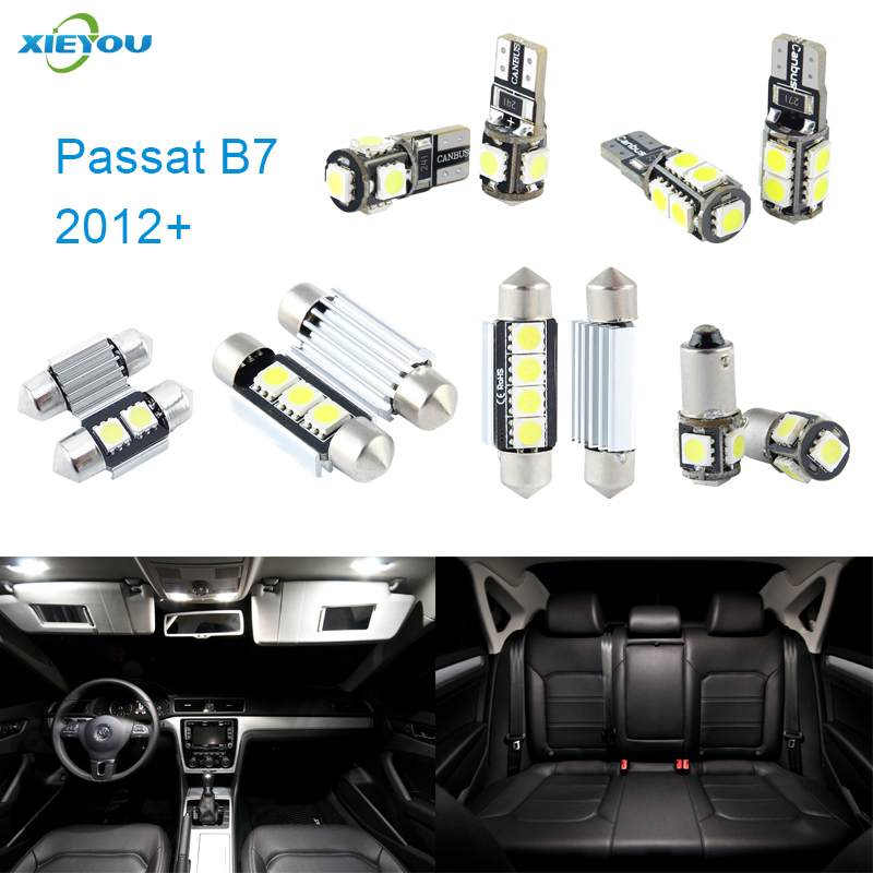 XIEYOU 14pcs LED Canbus Interior Lights Kit Package For Volkswagen VW Passat B7 (2012+) free shipping 11x vw golf 5 gt 2003 2008 white led lights interior package kit canbus 107