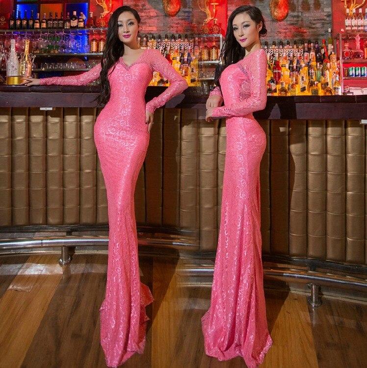 2019 Real Picture V-neck Prom Party gowns Long   Evening     dress   Robe de soiree Abiti vestido de casamento longo com renda H0713