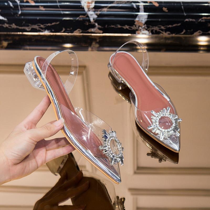 Ayakk.'ten Düşük Topuklular'de Meifeini yeni şeffaf sandalet 2019 yaz moda jöle taklidi kadın ayakkabısı sivri düşük topuklu düz ayakkabı'da  Grup 1
