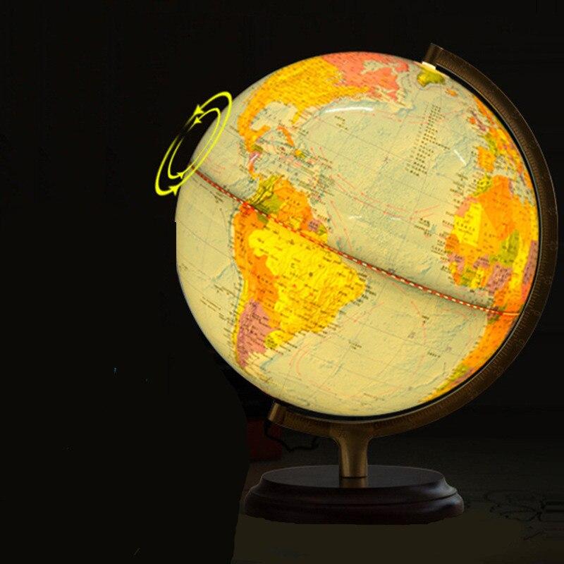 32 CM électrique lumière LED monde Globe terre carte géographie éducation jouet carte avec support rotatif décoration de la maison bureau ornement