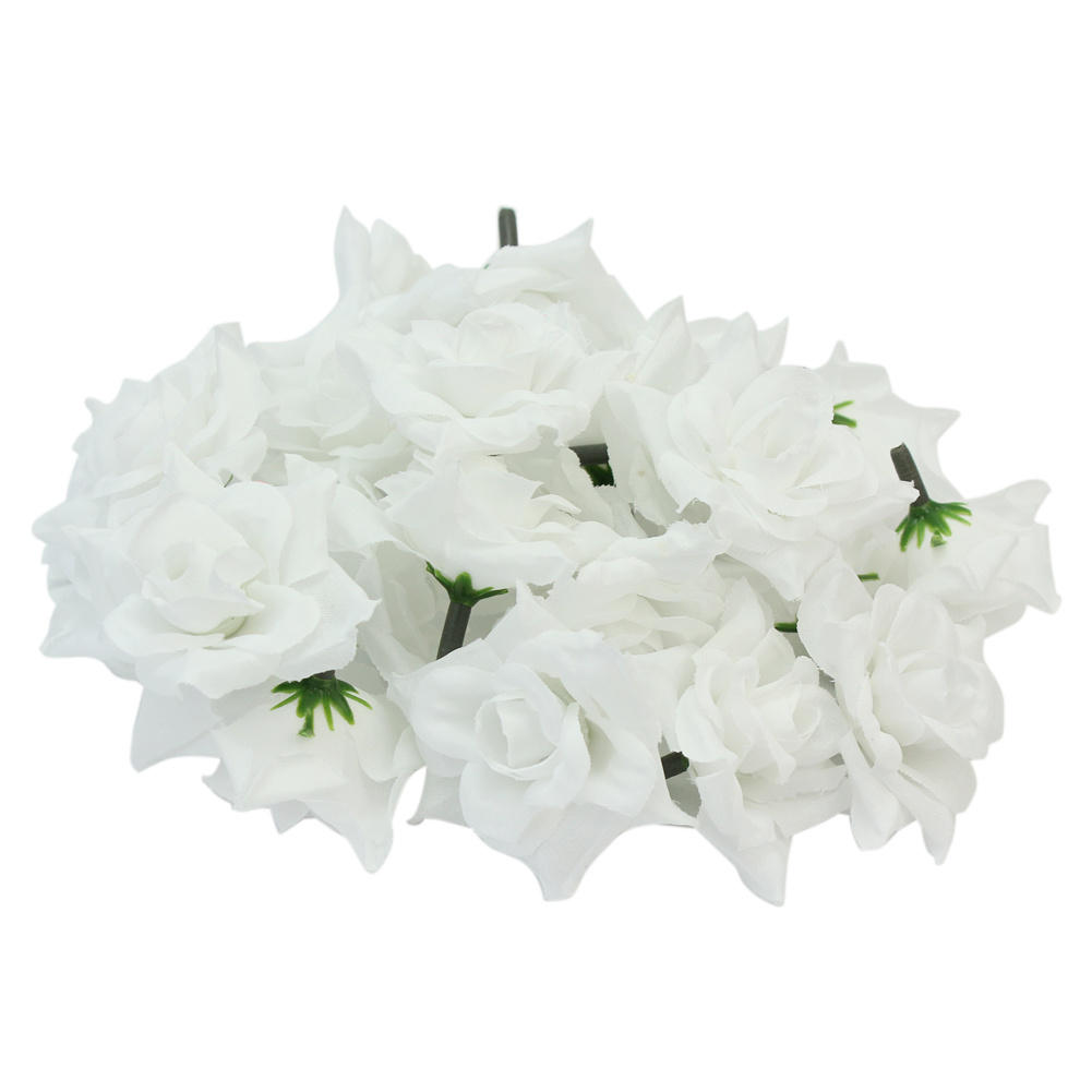 24pcslot white 5cm silk fabric fake artificial rose flower heads aeproduct mightylinksfo