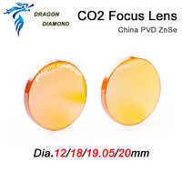 China CO2 ZnSe lente de enfoque diámetro 12mm 18mm 19,05mm 20mm FL 38,1 50,8 63,5 76,2 101,6mm para máquina de grabado y corte láser CO2
