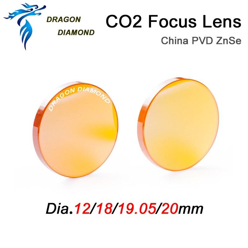 China CO2 ZnSe lente foco diâmetro 12mm 18mm 19.05mm 20mm fl 38.1 50.8 63.5 76.2 101.6mm para co2 gravação a laser e máquina de corte